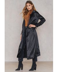 Boohoo - Ruched Sleeve Duster Black - Lyst