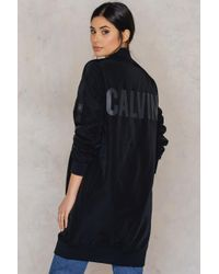 Calvin Klein | Black Olga Long Bomber Jacket | Lyst