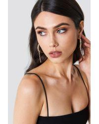 NA-KD - Metallic Hanging Rhinestone Hoop Earrings - Lyst
