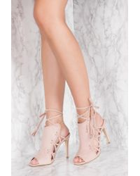 NA-KD - Pink Side Lacing High Heel - Lyst