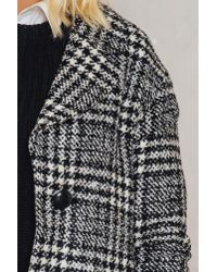 Trendyol - Black Checked Wide Collar Coat - Lyst