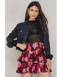 NA-KD - Multicolor Double Layers Smock Skirt Red Flower - Lyst