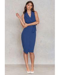Closet | Blue Collar V Neck Tie Up Dress | Lyst