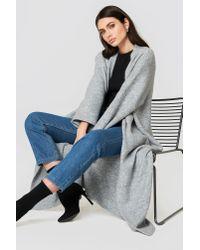 Trendyol - Gray Long Sleeve Maxi Cardigan - Lyst