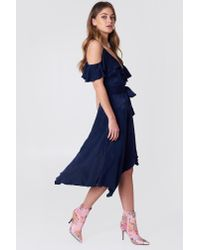 NA-KD Asymmetric Wrap Frill Dress Blue