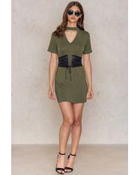 Boohoo - Green Choker Corset T-shirt Dress - Lyst