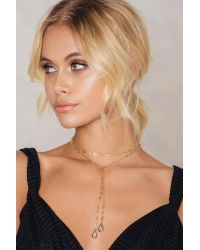 NA-KD - Metallic Double Hanging Drop Necklace - Lyst