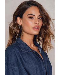 NA-KD - Metallic Big Round And Straight Earring - Lyst