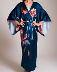 Meng - Blue Silk Satin Fully Lined Kimono - Lyst