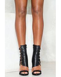 Nasty Gal - Black Corset Side Vegan Leather Heeled Sandals Corset Side Vegan Leather Heeled Sandals - Lyst