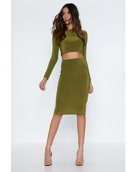 """Nasty Gal - Green """"piece Together Crop Top And Skirt Set"""" - Lyst"""
