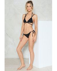 Nasty Gal - Black Alina Mix & Match Strappy Bikini Top - Lyst