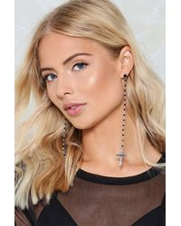 Nasty Gal - Black Long Cross Drop Earring Long Cross Drop Earring - Lyst