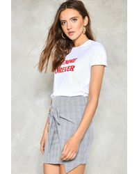 Nasty Gal - Gray It's A Tie Plaid Skirt It's A Tie Plaid Skirt - Lyst