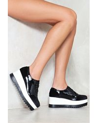 Nasty Gal - Black Cleated Velvet Ribbon Lace Brogue Cleated Velvet Ribbon Lace Brogue - Lyst
