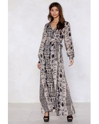 Nasty Gal - Multicolor Snake Up Maxi Dress - Lyst