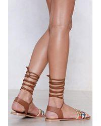 """Nasty Gal - Brown """"get A Shoe Up Embellished Sandal"""" - Lyst"""