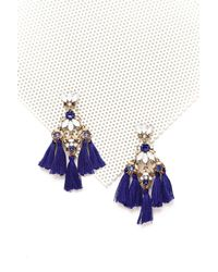Nasty Gal | Blue Mixed Stone Tassel Earrings Mixed Stone Tassel Earrings | Lyst