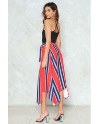 Nasty Gal - Blue Asymmetric Hem Stripe Midi Skirt Asymmetric Hem Stripe Midi Skirt - Lyst