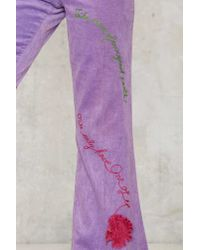Nasty Gal - Purple Vintage Ramona Embroidered Corduroy Pants - Lyst
