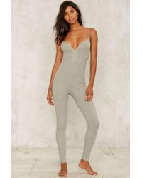 Lavish Alice | Gray Touch Me In The Morning Knit Catsuit | Lyst