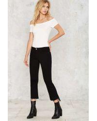 Nasty Gal - Black Apex Crop Jeans - Lyst