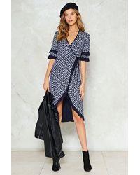 Nasty Gal - Blue Paisley Print Wrap Over Dress Paisley Print Wrap Over Dress - Lyst