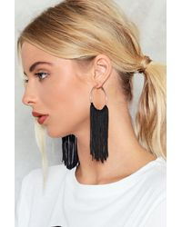 Nasty Gal - Black Gotta Hoop Together Fringe Earrings Gotta Hoop Together Fringe Earrings - Lyst