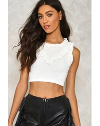 Nasty Gal - White Never Enough Ruffle Crop Top - Lyst