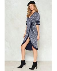 Nasty Gal - Blue Paisley Print Wrap Over Dress Paisley Print Wrap Over Dress - Lyst
