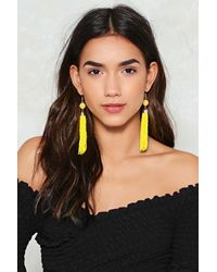 Nasty Gal - Yellow Preaded Shoulder Sweeping Earrings Preaded Shoulder Sweeping Earrings - Lyst