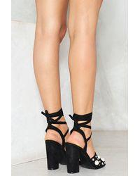 Nasty Gal - Black Mixed Stud Open Toe Heeled Sandal - Lyst