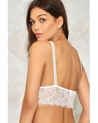 Nasty Gal - White That's The Way Lace Bralette - Lyst