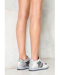 Nasty Gal - Gray Words Scale Me Velvet Sneaker - Lyst