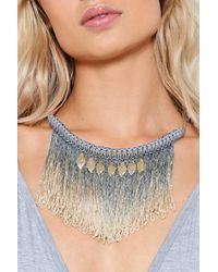 Nasty Gal | Metallic Woven Tassel And Leaves Necklace Woven Tassel And Leaves Necklace | Lyst