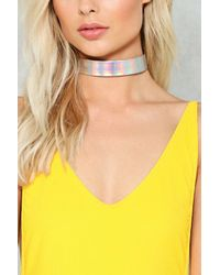 Nasty Gal - Metallic Future Love Holographic Choker Future Love Holographic Choker - Lyst