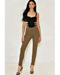 Nasty Gal | Natural Natalie Lace-up Pants | Lyst