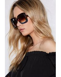 Nasty Gal Brown Such An Icon Oversized Shades