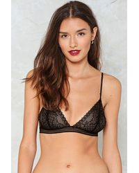 Nasty Gal - Black Open Your Heart Lace Bralette - Lyst