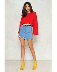 Nasty Gal - Red Bell It Like It Is Cropped Sweater - Lyst