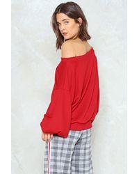 Nasty Gal - Red Off Shoulder Oversized Sweatshirt - Lyst