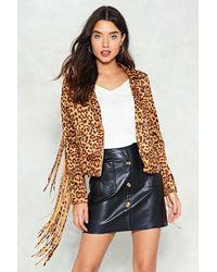 Nasty Gal - Multicolor Run Wild Leopard Moto Jacket - Lyst