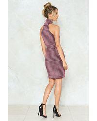 Nasty Gal Black On The Stripe Track Ribbed Dress