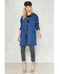 Nasty Gal - Blue Denim Duster Denim Duster - Lyst