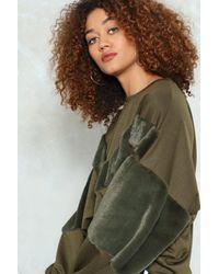 Nasty Gal - Multicolor Chevron Jump Ahead Faux Fur Sweatshirt - Lyst