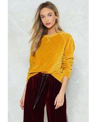 Nasty Gal - Yellow Gimme Velour Sweatshirt - Lyst