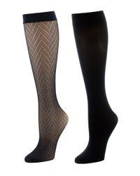 Natori | Black Chevron Net/solid 2 Pair Trouser Socks | Lyst