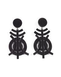 Natori   Black Horn Geo Earrings   Lyst