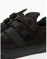 Filling Pieces - Black Low Top Double-Strap Suede Sneakers for Men - Lyst