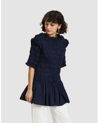 608b5061d51 Toit Volant Lembeye Smocked Tunic In Navy in Blue - Lyst